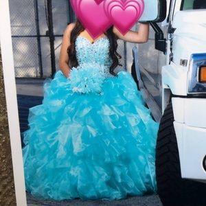 Aqua Quinceanera Prom Dress